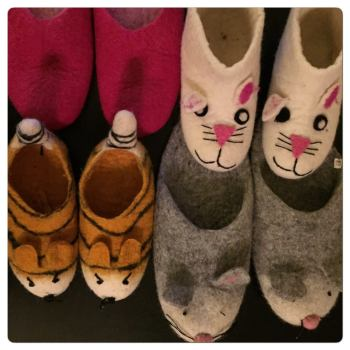 """Jovieh Madlos-Liray: """"These are our very comfortable winter slippers which are made of wool from Kathmandu, Nepal. These were gifts from a super friend who works for the United Nations and is based in Kathmandu with her family."""""""